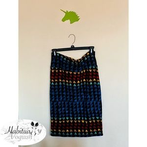 LulaRoe Multicolored Tribal Printed Pencil Skirt